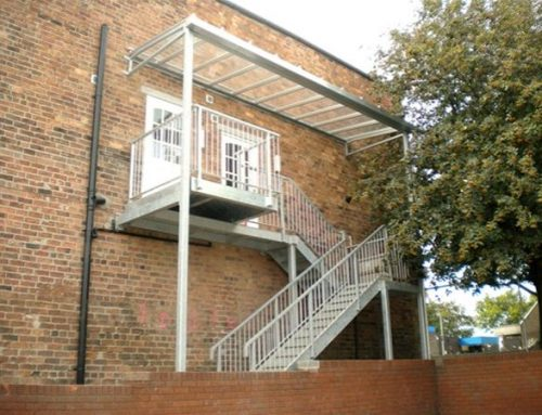 PM09 Fabricated External Staircase with Integral Glazed Canopy Unit