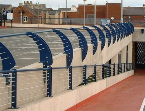 R02 Decorative Metal Wire Profiled Railings for Car Park and Ramp to Supermarket Redcar