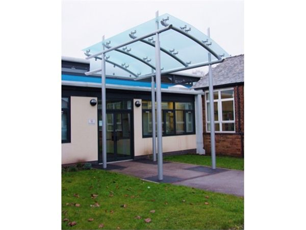 EF04 Faceted Satin Glass Entrance Feature School Atherton