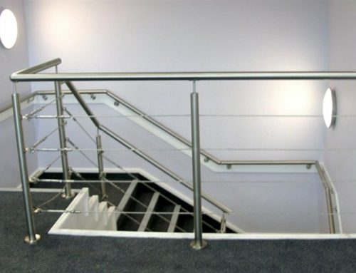R03 Stainless Steel Metal Wire Railings to Stairway in Offices Huddersfield