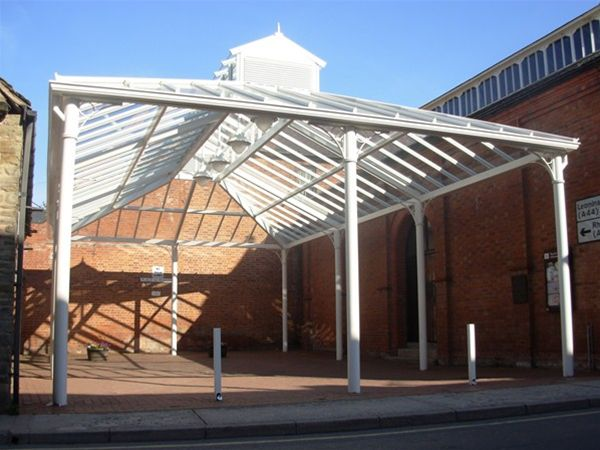 P05 Patent Glazed Glass Roof Market Pavilion Town Centre Kington