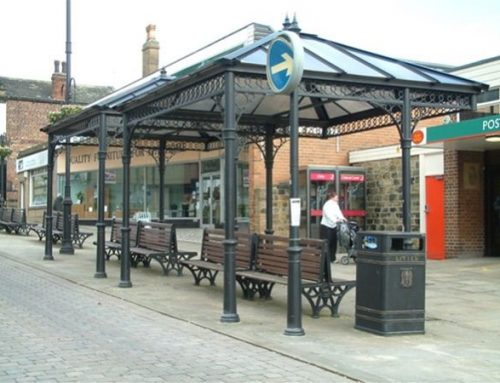 P06 Patent Glazed Glass Roof Seating Pavilions Town Centre Morley