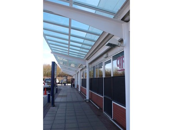 RP02 Refurbished Glass Canopy Roof to Supermarket Chester